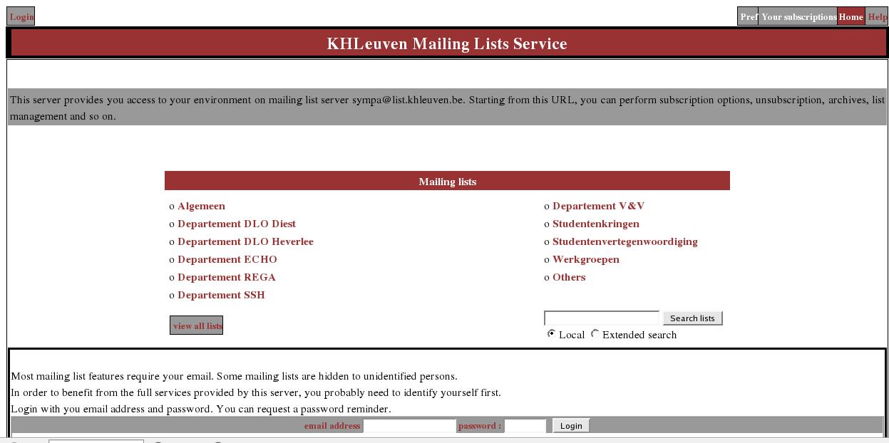 Screenshots Sympa Mailing List Server