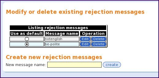 The rejection templates management web interface